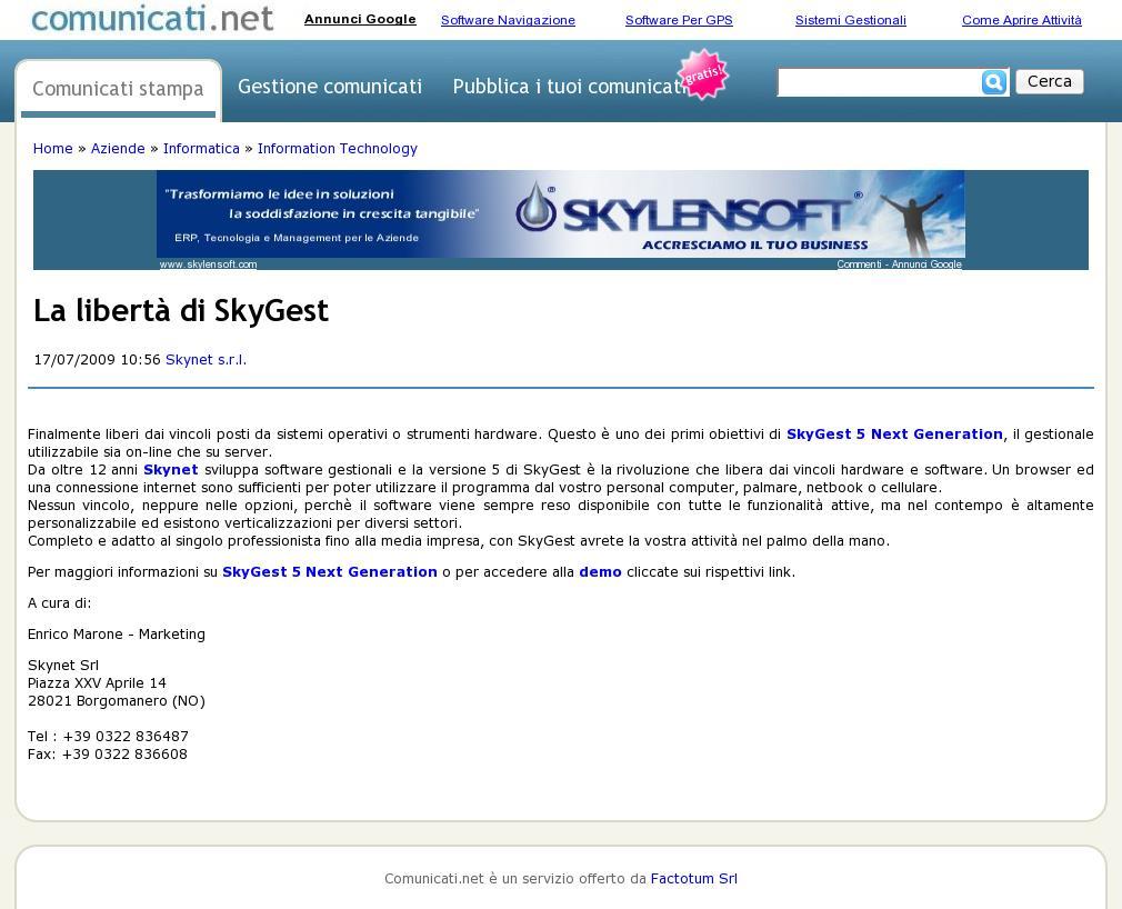 comunicati-La libertà di SkyGest_170709