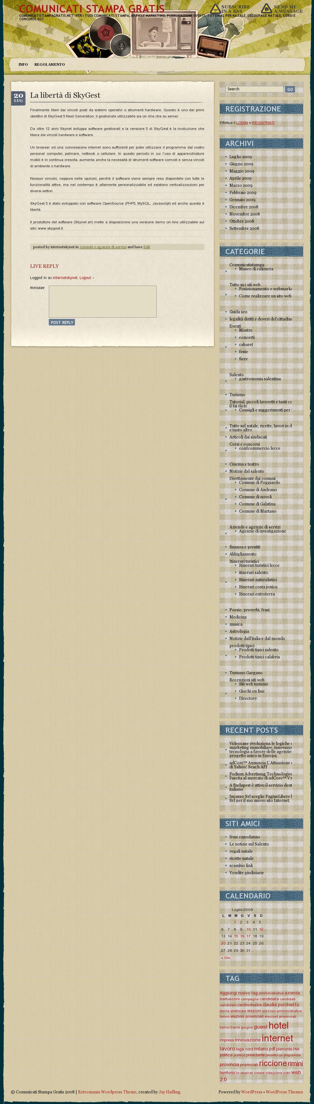 Comunicati Stampa Gratis-La libertà di SkyGest-170709